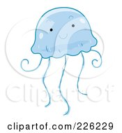 Royalty Free RF Clipart Illustration Of A Cute Blue Jellyfish by BNP Design Studio