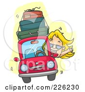 Royalty Free RF Clipart Illustration Of A Woman Driving A Car With Luggage On Top