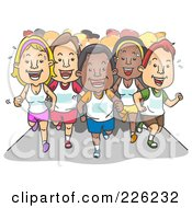 Royalty Free RF Clipart Illustration Of A Group Of Marathon Runners