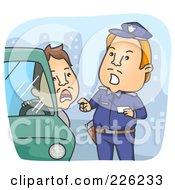 Royalty Free RF Clipart Illustration Of A Police Man Giving A Driver A Ticket