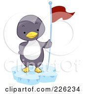 Royalty Free RF Clipart Illustration Of A Cute Baby Penguin With A Flag by BNP Design Studio