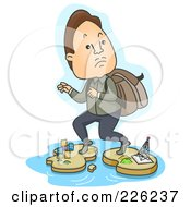 Royalty Free RF Clipart Illustration Of A Businessman Illegally Crossing From One Island To Another by BNP Design Studio