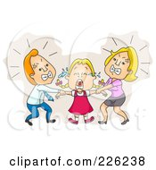 Royalty Free RF Clipart Illustration Of Parents Fighting Over Custody Of Their Daughter