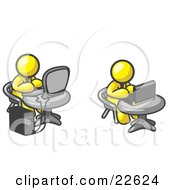 Clipart Illustration Of Two Yellow Men Employees Working On Computers In An Office One Using A Desktop The Other Using A Laptop