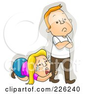 Royalty Free RF Clipart Illustration Of A Woman Crying At Her Husbands Feet