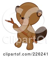 Royalty Free RF Clipart Illustration Of A Cute Beaver Carrying A Stick