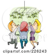 Royalty Free RF Clipart Illustration Of A Business People Reaching Up For Money