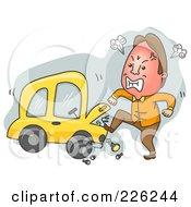 Royalty Free RF Clipart Illustration Of A Man Kicking His Broken Down Car