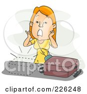 Royalty Free RF Clipart Illustration Of A Woman Realizing She Is Missing Luggage by BNP Design Studio
