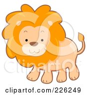 Royalty Free RF Clipart Illustration Of A Cute Lion With A Fluffy Mane