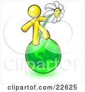 Yellow Man Standing On The Green Planet Earth And Holding A White Daisy Symbolizing Organics And Going Green For A Healthy Environment