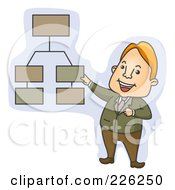 Royalty Free RF Clipart Illustration Of A Businessman Discussing A Chart by BNP Design Studio