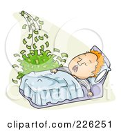 Royalty Free RF Clipart Illustration Of A Man Making Money While He Sleeps