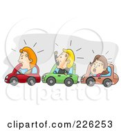 Royalty Free RF Clipart Illustration Of Angry Men And Women Stuck In Rush Hour Traffic