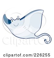 Royalty Free RF Clipart Illustration Of A Cute Blue Stingray by BNP Design Studio