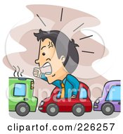 Royalty Free RF Clipart Illustration Of A Frustrated Businessman With Road Rage by BNP Design Studio