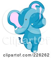 Royalty Free RF Clipart Illustration Of A Cute Blue Baby Elephant Dancing