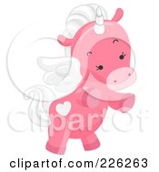 Royalty Free RF Clipart Illustration Of A Cute Pink Winged Unicorn by BNP Design Studio