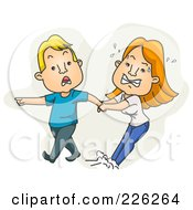 Royalty Free RF Clipart Illustration Of A Man Dragging An Angry Woman