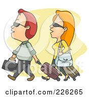 Royalty Free RF Clipart Illustration Of A Couple Walking With Luggage