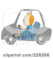 Royalty Free RF Clipart Illustration Of A Man Driving In An Invisible Car