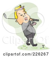 Royalty Free RF Clipart Illustration Of A Businessman Playing Golf