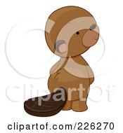 Royalty Free RF Clipart Illustration Of A Cute Beaver Looking Back