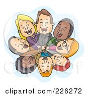 Royalty Free RF Clipart Illustration Of A Happy Business Team In A Huddle Looking Up by BNP Design Studio