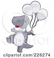 Royalty Free RF Clipart Illustration Of A Cute Gray Dinosaur Carrying Balloons