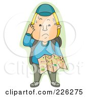 Royalty Free RF Clipart Illustration Of A Sweaty Man Holding A Map