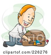 Royalty Free RF Clipart Illustration Of A Businessman Packing A Messy Suitcase