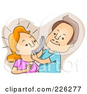 Royalty Free RF Clipart Illustration Of A Man Taping His Wifes Mouth by BNP Design Studio