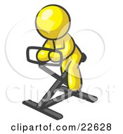 Clipart Illustration Of A Yellow Man Exercising On A Stationary Bicycle