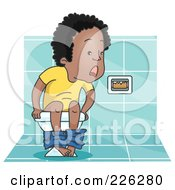 Royalty Free RF Clipart Illustration Of A Man Realizing Hes Out Of Toilet Paper by BNP Design Studio