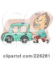 Royalty Free RF Clipart Illustration Of A Man Pushing His Broken Down Car