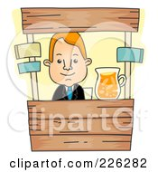 Royalty Free RF Clipart Illustration Of A Businessman Running A Lemonade Stand by BNP Design Studio