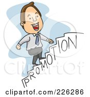 Royalty Free RF Clipart Illustration Of A Businessman Walking Up The Steps To A Promotion