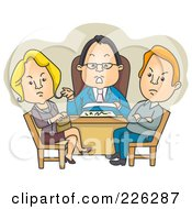 Royalty Free RF Clipart Illustration Of A Couple Getting A Divorce