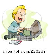 Royalty Free RF Clipart Illustration Of A Man Packing His Clothes In A Suitcase