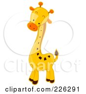 Royalty Free RF Clipart Illustration Of A Cute Baby Giraffe With An Orange Nose