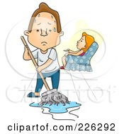 Royalty Free RF Clipart Illustration Of A Woman Watching Tv While Her Husband Mops The Floor