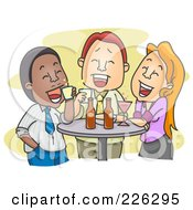 Royalty Free RF Clipart Illustration Of Colleagues Enjoying Drinks After Work