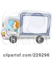 Royalty Free RF Clipart Illustration Of A Man Driving A Big Rig Truck With Ad Space by BNP Design Studio