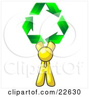 Yellow Man Holding Up Three Green Arrows Forming A Triangle And Moving In A Clockwise Motion Symbolizing Renewable Energy And Recycling by Leo Blanchette