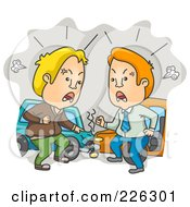 Royalty Free RF Clipart Illustration Of Two Men Yelling At The Scene Of A Car Accident by BNP Design Studio