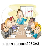 Royalty Free RF Clipart Illustration Of A Boss Discussing Profit In A Meeting by BNP Design Studio