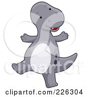 Royalty Free RF Clipart Illustration Of A Cute Gray Dinosaur Dancing