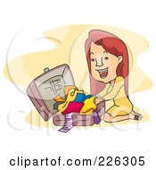 Royalty Free RF Clipart Illustration Of A Woman Kneeling And Packing A Suitcase
