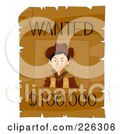 Royalty Free RF Clipart Illustration Of A Wanted Reward Wild West Sign by BNP Design Studio