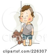 Royalty Free RF Clipart Illustration Of A Sad Abused Child With A Teddy Bear by BNP Design Studio